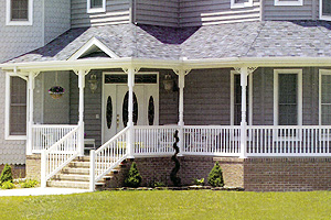 Saint James, Long Island fence company specializes in maufacturing and installing beautiful vinyl porch railings and stair railings.